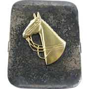 Paperholder paperclip, thoroughbred horse, ca.1940, silver-plated & brass, office library