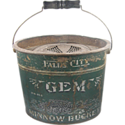 =SCARCE= Fishing minnow bait bucket, Falls City green, ca.1890