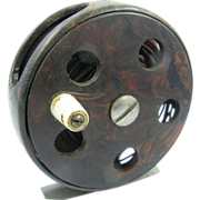 1940's Early fly fishing reel, marbleized plastic