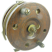 Antique wood fishing reel ca.1890, oak and brass, surf casting