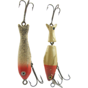 2 Fishing lures, minnow, red & white, 1950's