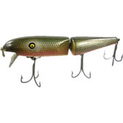 Fishing lure, 1936 Pflueger Pal-O-Mine minnow, wood painted green scales