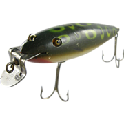 Fishing lure, wood CCBCO, ca.1920, painted pike minnow green with spots