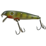 Fishing lure, 1936 Pflueger PALOMINE trout minnow, wood painted green red