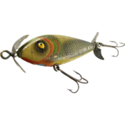 Fishing lure, 1930's, Barracuda Brand St. Pete Florida, wood painted green with dots.