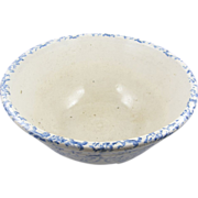 """=BIG= BLUE spongeware mixing bowl, 12"""" diameter, American ca.1880"""