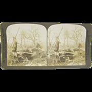 -SCARCE- 1903 antique stereoview by White, deer hunter's log camp scene #3