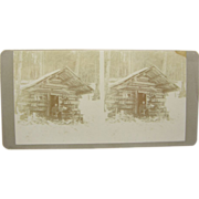 1900 Trapping North Woods log cabin - antique stereoview,