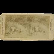 =RARE= 1900 antique stereoview, Lake Abundance, hunting camp North Woods