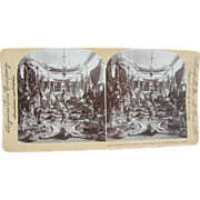 1892 Taxidermy, Quebec fur parlor, Antique stereoview by Lingley