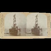 1898 Span-Am War, Battleship TEXAS - Antique stereoview