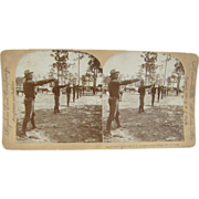 1898 Span-Am War, Saber Drill, Camp Tampa, Florida - Antique stereoview
