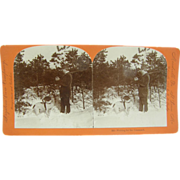 1895 Hunting dogs, pointer - antique stereoview by Lingley