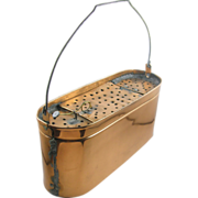 1910's Oval long COPPER minnow bait bucket, Kentucky