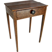 =Original Paint= Work table ca.1815, American, comb-painted, one-drawer