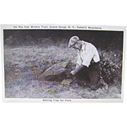 RPPC Trapping ca.1910, deadfall set demonstration, postcard