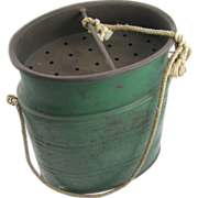 =Original Paint= ca.1910 green minnow bucket =Fishing=