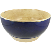 Yellowware bowl ca.1835, cobalt blue band