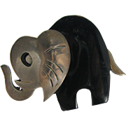 1950's Taxco African Elephant silver 925 onyx TM-M6