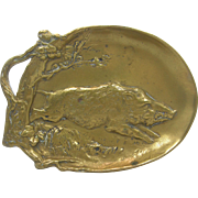 ca.1890's =Wild Boar= brass cigar / pin tray, Berndorf foundry Austria