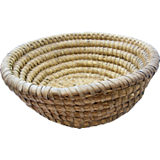 Folk Art ca.1850-1860's coiled rye basket 11""