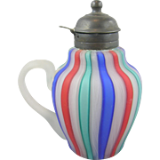 Victorian ca.1870's satin glass syrup pitcher, candy-cane striped