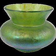 19-teens iridescent green art glass mini vase