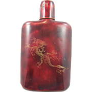 =RARE= Occupied Japan 1945-1951 metal whisky flask, red enamel, dragon