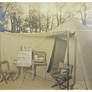 ca.1900 advertisement photo of new camping, fishing gear, tent display