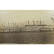ca.1870's British warships HMS AGINCOURT and HMS MINOTAUR, The Esplanade, Greenock, Scotland
