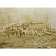 ca.1890 saw mill, logging camp, sawyers and lumberjacks, narrow gauge RR