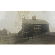 Farming ca.1890 homestead, tandem team of draft horses pulling wagon, barn
