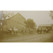 Farming ca.1890 homestead, tandem teams of draft horses pulling wagons, barn, buggies