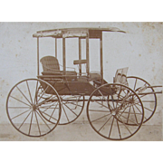 =RARE= advertising cabinet card for new horse drawn buggy, Dayton Ohio