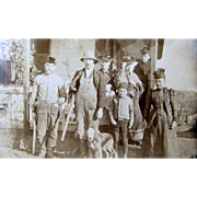 ca.1890's group portrait, Bourne Burce Tillson family, dog shotguns