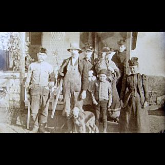 ca.1890's group portrait, Bourne Burce Tillson family, dog shotguns