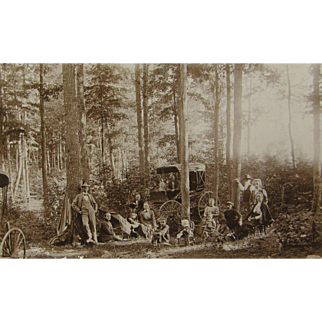 =RARE= picnic in the forest, horse-and-buggy days 1890's