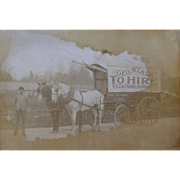 =RARE= tandem horse-drawn advertising wagon, George W. Carr, Franklin NJ, ca.1910