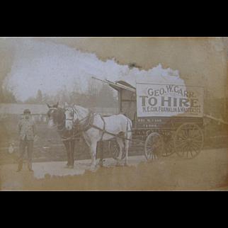 =RARE= tandem horse-drawn advertising wagon, George W. Carr, Franklin NJ, ca.1910