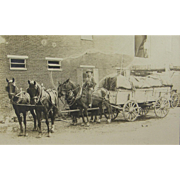 =RARE= teamster riding one of four draft horses, double box freight wagon ca.1900