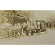 =RARE= ca.1900 quad team dappled gray draft horses, heavy freight, iron vault