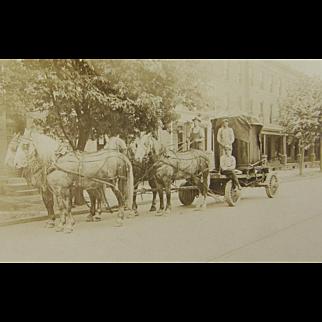 =RARE= ca.1900 quad team dappled gray draft horses, heavy freight, iron vault