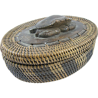 =BALI= Lontar oval crab lid box, woven coiled rotan (rattan), wood carving
