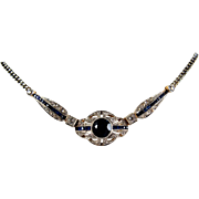 Stunning Art Deco platinum and 18K solid gold necklace with sapphire pendant. Hallmarked