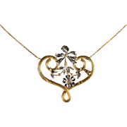 Art Nouveau solid gold, platinum and diamond necklace Stamped French 18K pendant and gold chain
