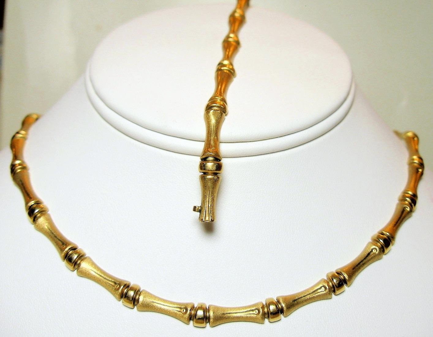 Wonderful bamboo design French 18K stamped solid gold jewelry set