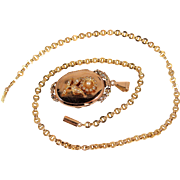 Rare 18K solid gold locket, stamped French gold and cultured pearl heavy necklace Circa 1880s