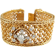 Glamorous French wide cuff gold bracelet, Stamped heavy 18K solid gold, 1.60ct quality diamonds, Woven ribbon mesh bracelet
