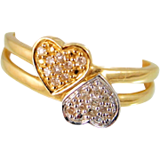 Toi et Moi 18K solid gold ring with small diamonds, Stamped French Crossover Double heart ring