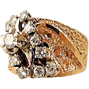 Bold and dazzling 14K solid gold nugget and .57ct tw diamond ring, Wide and Heavy brushed gold band, Stamped cocktail ring